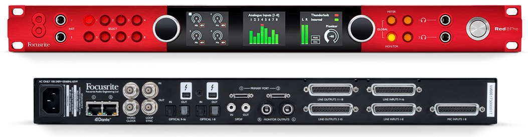 Focusrite RedNet RED 8 Pre red8pre front rear