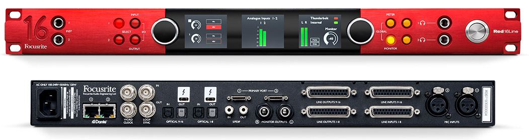 Focusrite RedNet reD 16 LINE red16line front rear
